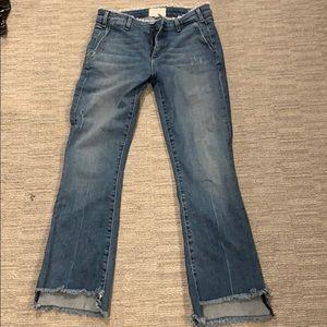 McGuire raw waist frayed crop jean